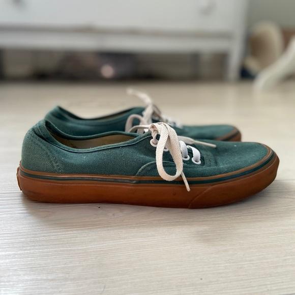olive green low top vans
